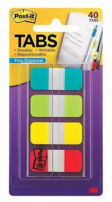 Post-it Tabs Durable Assorted Solid Blue Red Yellow White 1 2 3 Dispenser Pack
