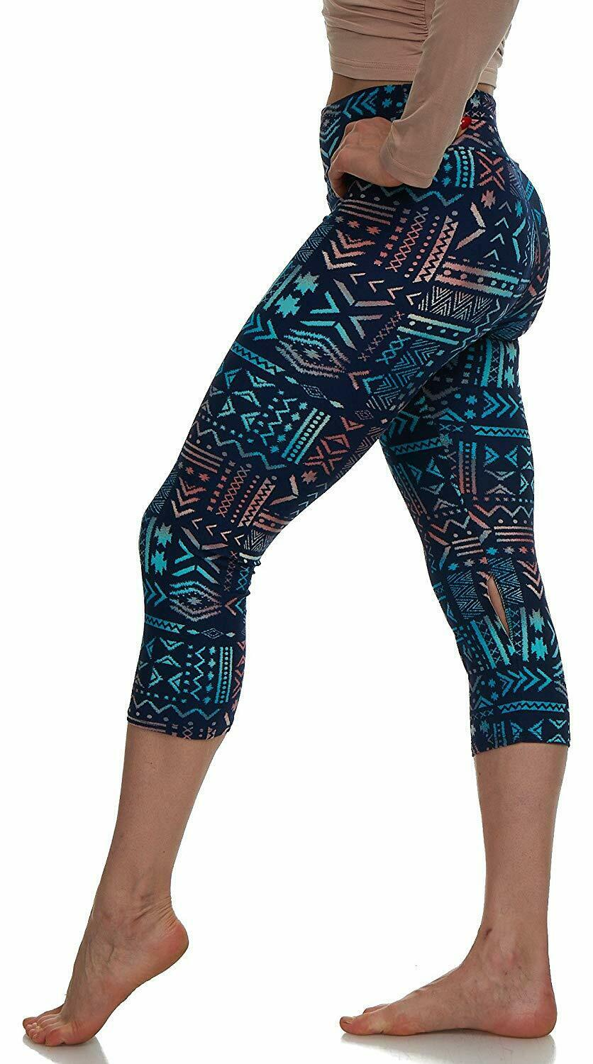Extra Buttery Soft Capri Leggings with Design   Variety of Prints   One Size Clothing, Shoes & Accessories