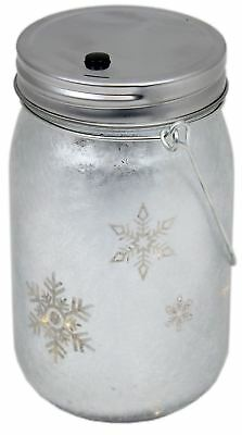 Frosted Glass Light Up Snowflake LED Mason Jar Christmas Lantern ~ Silver