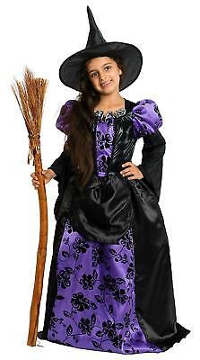 Mädchen Halloween Hexe Kostüme (Königin Hexenkostüm Kinder Mädchen lila schwarz & Hexenhut -Halloween 081130-REV)
