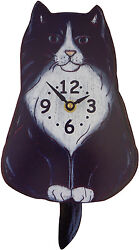 Pink Cloud Fluffy Tuxedo Black & White Kitty Cat Kitten Pendulum Wall Clock