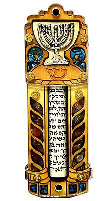 "Jewish MEZUZAH CASE With SCROLL Menorah Wood & Gemstones Israel Judaica Door 4"""