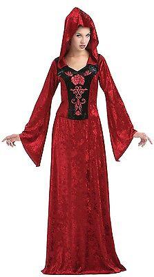 Damen Lang Rot Druide Mittelalterlich Hexe Halloween Kostüm Kleid Outfit (Damen Kostüm Druide)