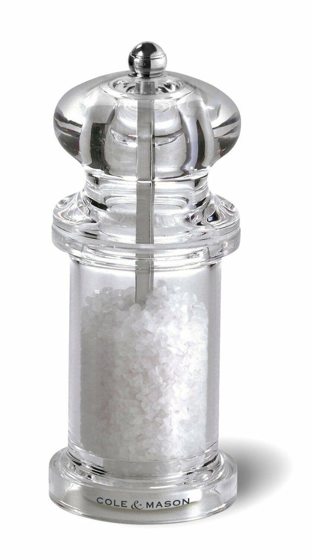Cole Mason 505 Salt Grinder Clear Acrylic Mill Includes Prec