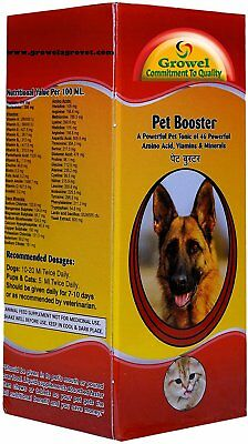 Growel Pet Booster - Dog & Cat Supplement With 46 Essential Amino Acids, Vitamin