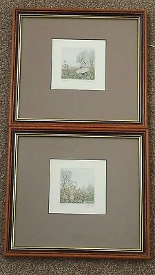 A stunning Pair of Original Miniature hand coloured limited edition Etchings