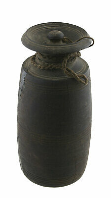 Pot Rustic in Milk Butter Tsampa Antique Jar Wood Primitive Nepal Tibet 26705