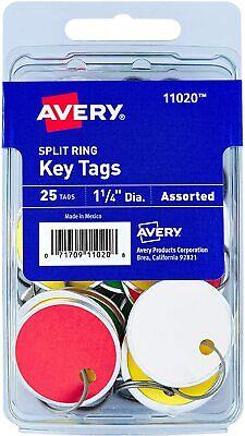 Avery 11020 Key Tags 1.25 Diameter Tag Metal Split Ring Assorted Colors