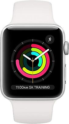 Apple Watch Series 3 38mm GPS Silver Aluminum - White Sport Band MTEY2LL/A *New*