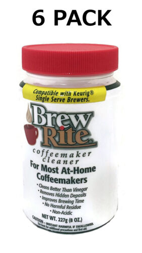 (6) Brew Rite Coffee Maker Cleaner for Espresso Machines and Drip Coffeemakers