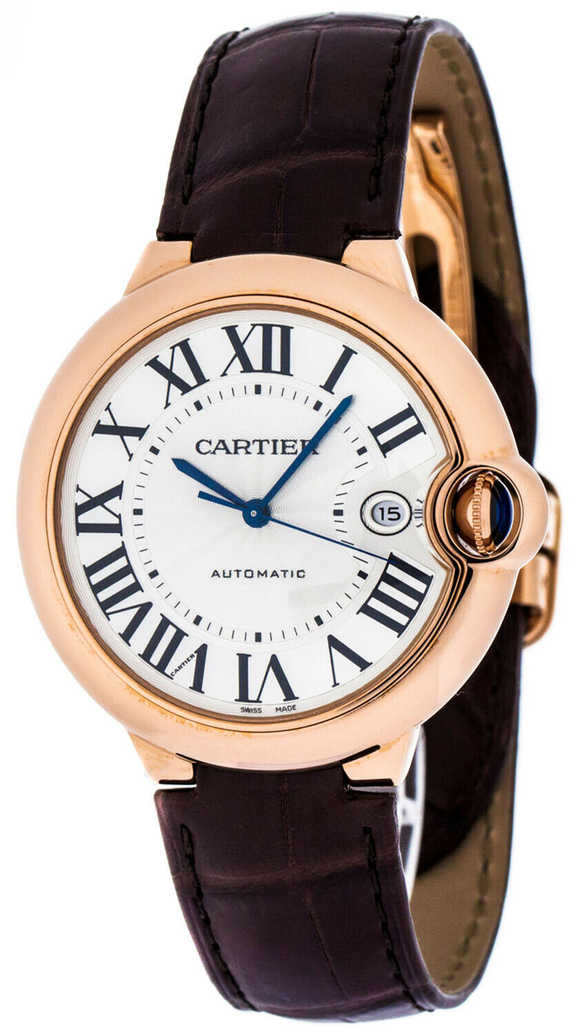 89d56b79181d Cartier Ballon Bleu 18k Rosegold Brown Leather Auto Men s Watch ...