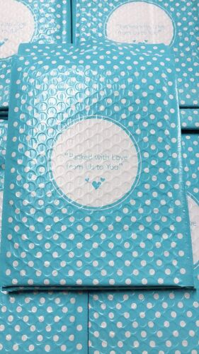 500 6x10 Packed with Love from Us to You Blue Dot Poly Bubble Envelopes Mailers