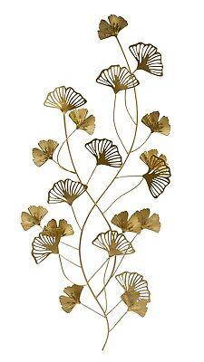 Moderne Wanddekoration Wandskulptur Wandbild Blätter gold aus Metall 35x75 cm