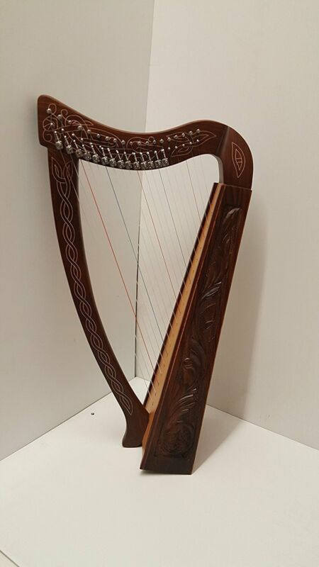 Tall Celtic Irish Rose Harp 22 Strings Lever Solid Wood with hand Engraved Style