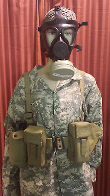 M-15 Gas Mask With Filter Canvas Survival Harness Hydration Canteen