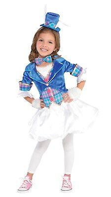Mädchen Teen Süß Hatter Alice Welttag des Buches Kostüm Kleid Outfit 6-14yrs