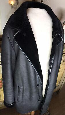 Giorgio Armani Black Lamb Leather Coat (Size: 50  (Large/xlarge)
