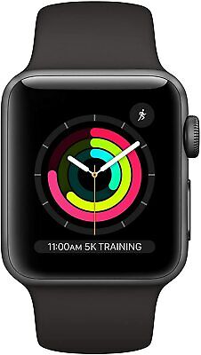 Apple Watch Series 3 38mm Space Gray Aluminum - Black Sport Band MTF02LL/A *New*