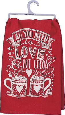 Chocolate Flour - Primitives By Kathy Red Flour Sack Dish Towel ~ All you Need is Love & Hot Cocoa