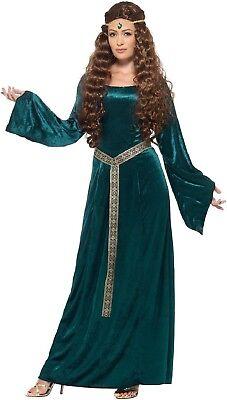 Damen Lang Aquamarin Mittelalterlich Thron Tyrell Tv Kostüm Kleid Outfit (Alte Dame Outfits)