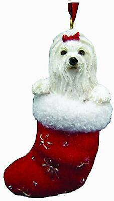 MALTESE in Stocking Christmas Ornament-Santa's Little Pals-by E&S -