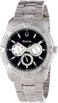 Bulova Men's 96E115 Diamond Case Stainless Steel Black Dial Watch