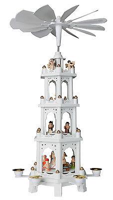 BRUBAKER Weihnachtspyramide Holz Pyramide Weiß Weihnachten 4 Etagen 60 cm Höhe