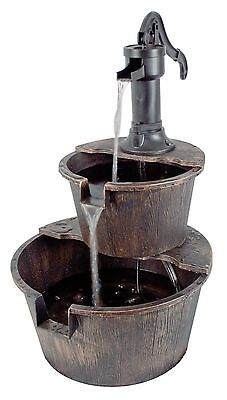 2 Tier Garden Barrel Pump Fountain Water Feature Cascade Outdoor Patio Deck