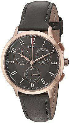 Fossil CH3099 Women's Abilene Sport Rose Gold Steel Gray Leather Strap Watch