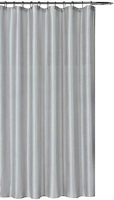 Iris Luxury Fabric Shower Curtain: Shimmering Textured Jacquard Silver NWOP