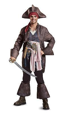 Captain Jack Sparrow Pirates Caribbean Fancy Dress Up Halloween Deluxe Costume