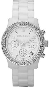 NEW MICHAEL KORS MK5188 WHITE CERAMIC RUNWAY WATCH - 2 YEAR WARRANTY