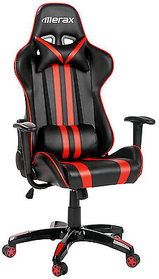Sale Merax Executive Racing Gaming Chair High Back PU Leather Computer Desk Red