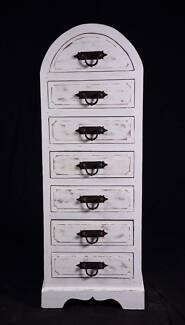 Huge 7 drawer shabby chic tallboy chest,DELIVERY AVAILABLE.