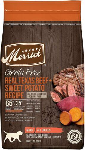 Merrick Grain Free Real Texas Beef + Sweet Potato Dry Dog Food, 22LBS