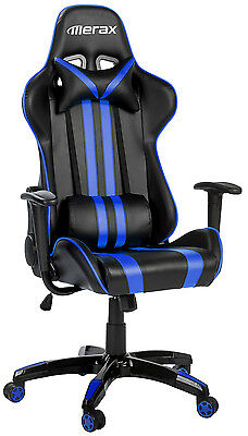 Merax Executive Racing Gaming Chair High Back PU Leather Computer Desk Blue