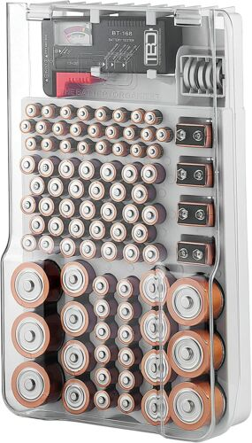 The Battery Organizer Storage Case Clear Cover, Battery Tester 93 Batteries