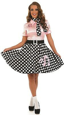 Ladies Pink 50's Lady 1950's Rock Fancy Dress Costume Outfit UK 8-26 Plus Size