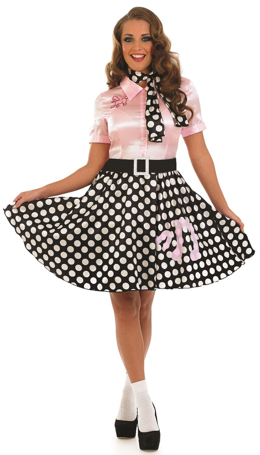 Details about Ladies Pink 50\'s Lady 1950\'s Rock Fancy Dress Costume Outfit  UK 8-26 Plus Size