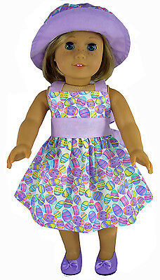 Easter Eggs Pastel Dress + Matching Hat for 18