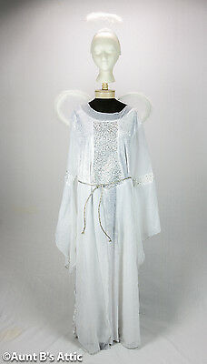 Angel Costume Adult Plus 4 Piece White & Silver Long Dress Wings Halo Cord Belt