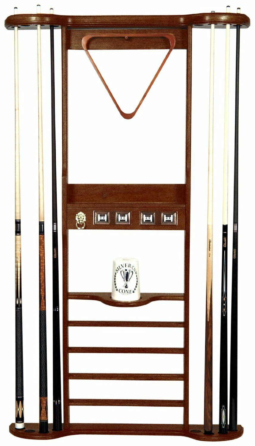 8 CUE WALL RACK with SCORERS for POOL TABLE / BILLIARD CUES