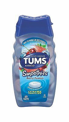 Tums Smoothies Antacid Chewable Tablets, Berry Fusion - 60 - Tums Smoothies