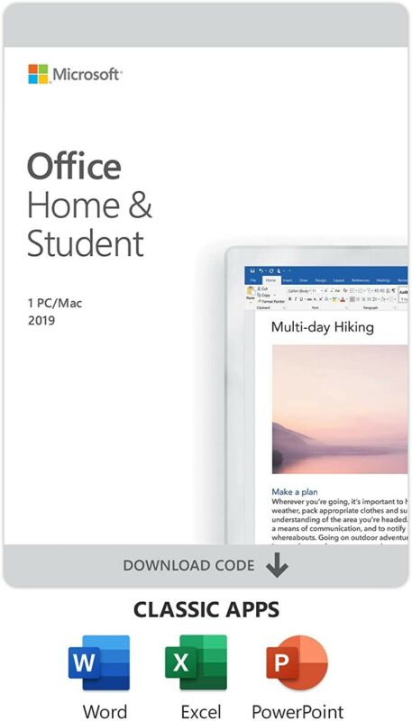 Microsoft Office Home And Student 2019 1 Device PC/Mac Digital Code/Key