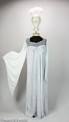 Angel Gown 2 Piece White & Silver Velour & Poly Adult Plus Size Gown With Halo - Plus Size Angel Costumes