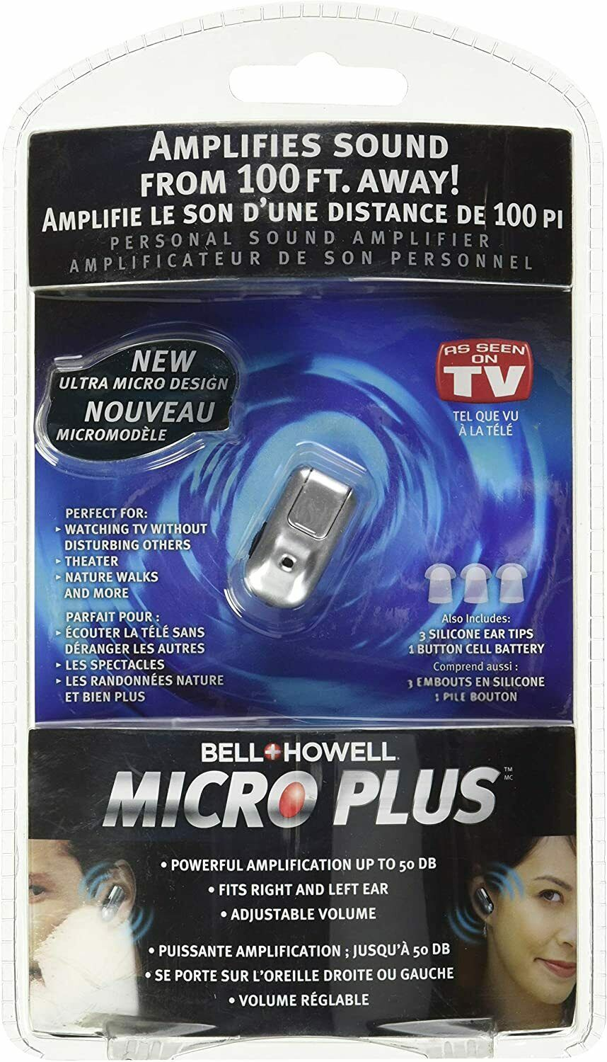 Bell Howell Micro Plus Sound Amplifier Hearing Aid 50DB AS SEEN ON TV Daily Living Aids