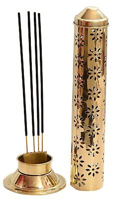 Incense Holder Brass - Safety Stick Ash Catcher Agarbatti Stand Burner Box Cone