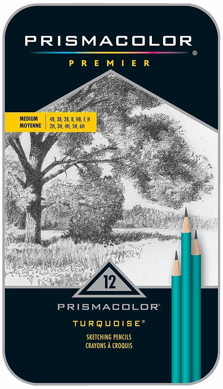 Prismacolor Premier Turquoise Graphite Sketching Pencils, Medium Leads, 12-Count Art Pencils & Charcoal