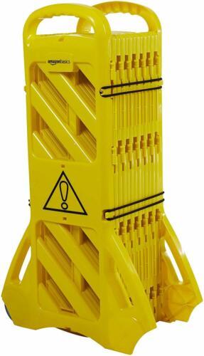 Amazon Basics Expandable Mobile Barricade Fence Safety System Yellow 13 Feet
