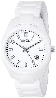 Caravelle New York Women's 45M107 Ceramic Quartz White Bracelet 36mm Watch